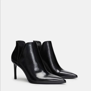 Zara Trafaluc Black Heeled Ankle Booties w/ Cutout